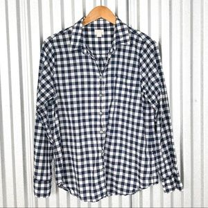 J. Crew Navy Gingham classic button-down shirt